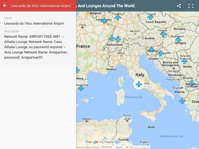 tüm havalimanlarının wi-fi şifresini gösteren harita!